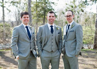 Groom and Groomsmen in navy ties grey suits | Rivermead Golf Ottawa | AMBphoto