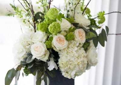 Large floral in slate containers with branches white and greenery | Rivermead Golf Ottawa | AMBphoto