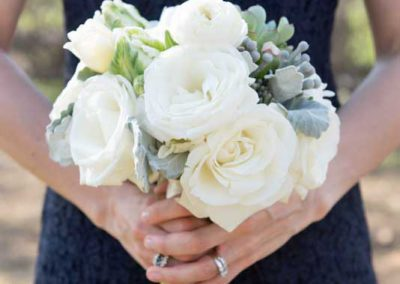 Bridesmaid Bouquet white roses dusty miller and succulents | Rivermead Golf Club Ottawa | AMBphoto