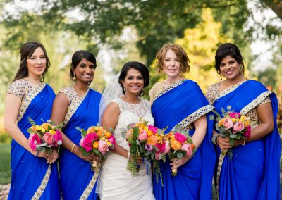 Bride and bridesmaids royal blue gold saris | Ottawa Hunt and Golf Club | Union Eleven Photographers