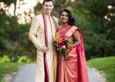 Groom in gold kurta Bride in pink and gold sari | Ottawa Hunt and Golf Club | Union Eleven Photographers